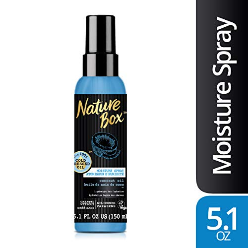 Nature Box Hair Moisture Spray - for Lightweight Hydration, with 100% Cold Pressed Coconut Oil, 5.1 Ounce