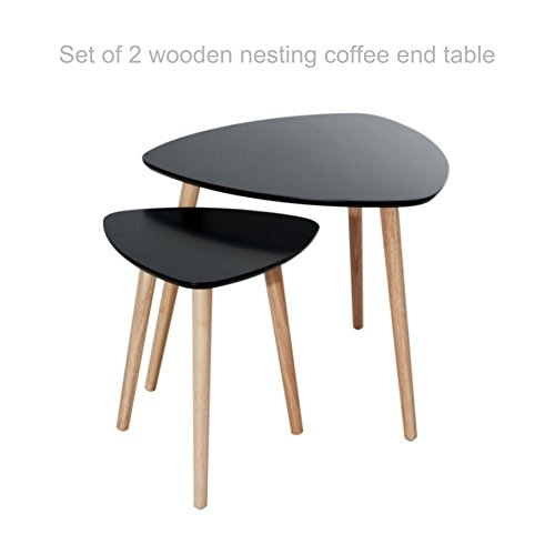 Modern Style Wooden Nesting Coffee End Table Smooth Design Solid Wood Finish Set of 2 Danish Style Home Office Living Room Furniture #1834blk