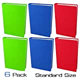 School Bell Supplies 6 Pack Standard Size Stretchable Book Covers: Easy to Apply, Reusable, Washable, Fits Hardcover Books/Textbooks from 6'' x 7'' up to 7.5'' x 9.5''