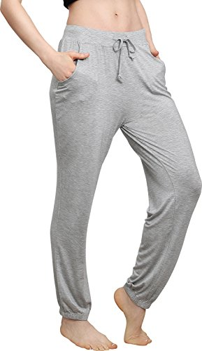 Spandex Stretch Sleep Pant (Vislivin Women's Stretch Knit Pajama Pants Modal Sleep Pant Gray S)