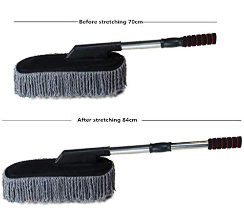 Lupure Car Big Duster Wash Brush, Long Retractable/Soft/Non-Slip/Handle to Trap Dust and Pollen Microfiber Exterior Interior Wash Cleaner Brush,Grey by Lupure (Image #1)