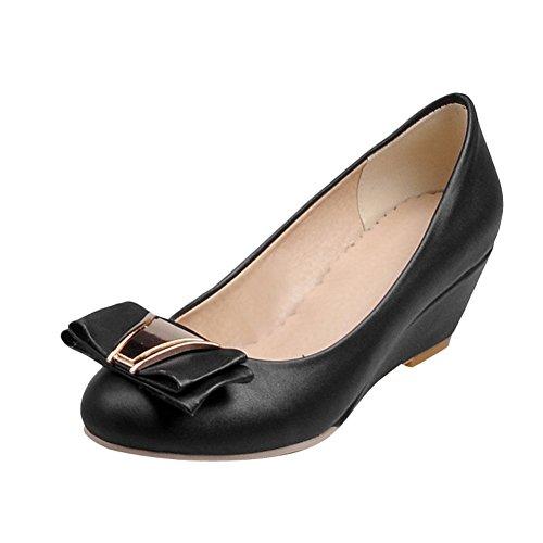 Charm Foot Womens Fashion Comfort Wedges Heel Pumps Shoes Black XHSBPG2MP