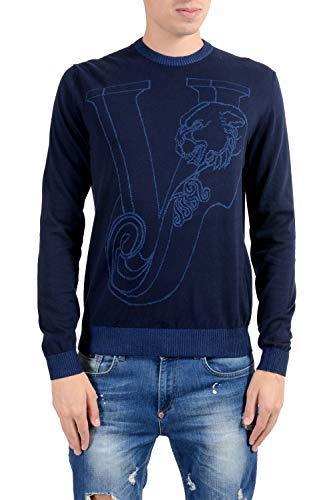 (Versace Jeans Men's Blue Designed Crewneck Sweater Size US M IT 50)