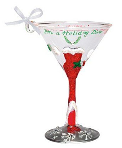 Lolita Mini Wine Glass Ornaments - Holiday Diva from Lolita Collection Love my Martini, Hand Painted and Comes with Gift Box