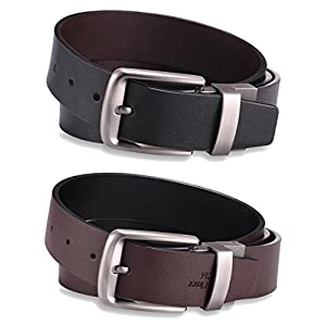 Alice & Elmer Men's Dress Belt Leather Twist Reversible 1 1/2'' Wide With Removable Rotated Buckle Belts Black & Brown
