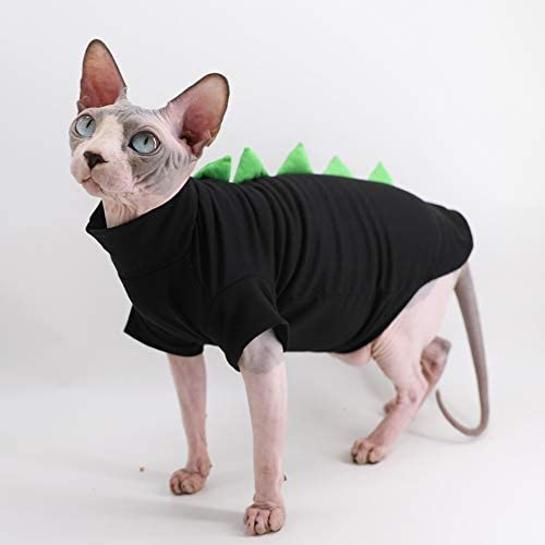 Dinosaur Design Sphynx Hairless Cat Clothes Cute Breathable Summer Cotton Shirts Cat Costume Pet Clothes,Round Collar Kitten T-Shirts with Sleeves, Cats & Small Dogs Apparel 18