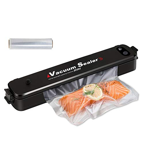 PDR TEC Vacuum Sealers,Automatic Food Preservation Machine for Dry and Moist Food Packing, Fresh Preservation Vacuum Air Sealing System Safety Black with 15pcs Sealing Bags