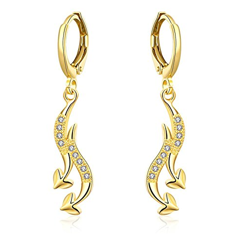 Gnzoe Silver Plated Drop Earrings Heart Arrows CZ White Crystal Gold