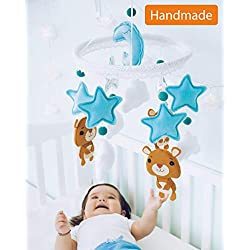 Baby Mobile Felt Nursery Crib Mobile Handmade Baby Shower Gift for Boy (Blue Silver)
