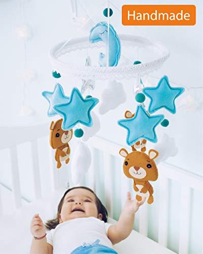 Baby Mobile Felt Nursery Crib Mobile Handmade Baby Shower Gift for Boy (Blue Silver)