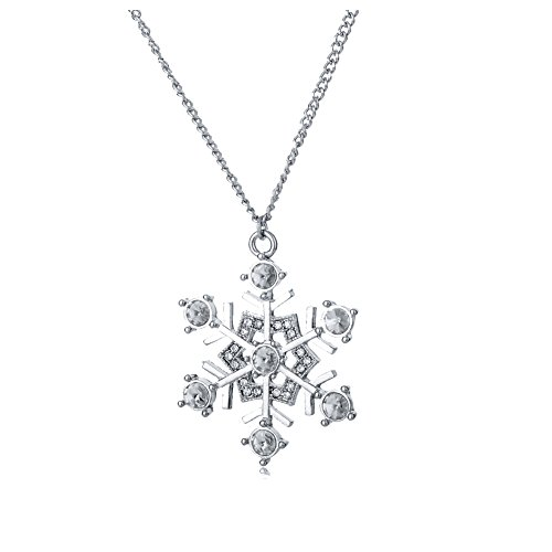 [Long Chain Snowflake Necklace Silver Plated Swarovski Elements Crystal Charm Pendant For Women] (Best Mother And Son Costumes)