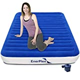 EnerPlex Never-Leak Luxury Queen Air Mattress with High Speed Wireless Rechargeable Pump Queen Airbed Single High Inflatable Blow Up Bed for Home Camping Travel 2-Year Warranty