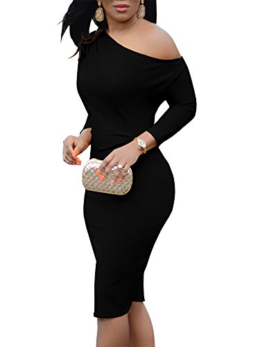 Jeanewpole1 Womens One Off Shoulder Midi Dress Long Sleeve Stretchy Sexy Bodycon Party Pencil Dress (Large, 1-Black) - Shoulder Dress Bodycon