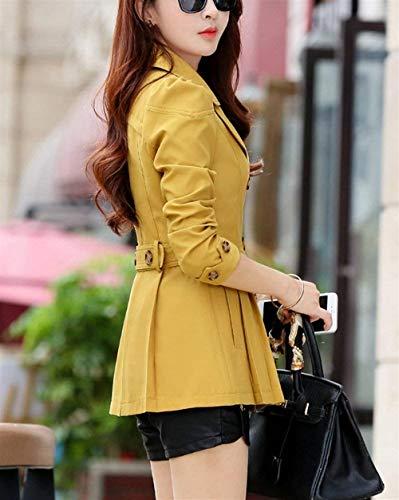 Giacca Lunga Fit Slim Outerwear Stile Breasted Invernali Cappotto Giovane Double Modern Outwear Manica Puro Donna Colore Tasche Gelb Bavero Anteriori FxzwqdFfO