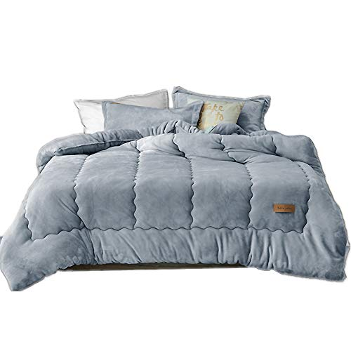 ASDFGH Flannel Fluffy Reversible Winter Quilt, Warm Ultra-Soft Quilted Comforter Double Single Corner Duvet tabs All Season Hotel Home-Gray 220x240cm(87x94inch)