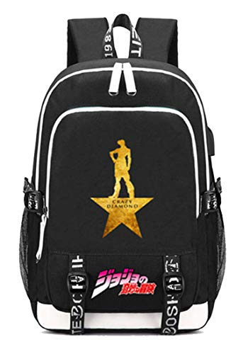 Gumstyle JoJo's Bizarre Adventure Anime Schoolbag Travel Bag Laptop Backpack with USB Charging Port and Headphone Jack 8 ()