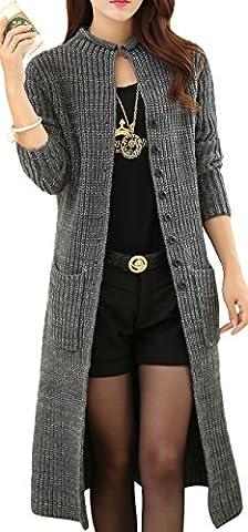KUBITU Womens Classic Button Down Pocket Knit Long Cardigan Sweater Coat Medium Grey