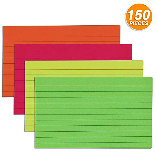 Emraw 150ct. Ruled Fluorescent Colored Index Card 3x5 - In Blue, Red, Orange, Yellow & Green