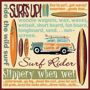 Surf's Up by Heidi Dobrott Art Print Poster Surfing Terms Terminology