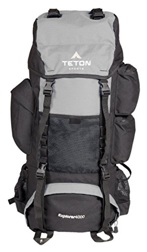 TETON Sports 163 Explorer 4000 Internal Frame Backpack – Not Your Basic Backpack; High-Performance Backpack for Backpacking, Hiking, Camping; Sewn-in Rain Cover; Metallic Silver