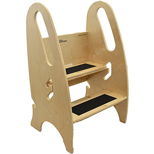 The Growing Step Stool By Little Partners  Natural    Adjustable Height Nursery  Kitchen Or Bathroom Kids Footstool   Wooden Non Tip Design For Both Toddlers   Adults  Supports Up To 250Lbs