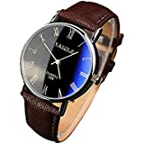 Han Shi Quartz Analog Watch, Mens Fashion Luxury Faux Leather Wristwatches Mechanical Clock