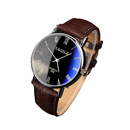 Han Shi Quartz Analog Watch, Mens Fashion Luxury Faux Leather Wristwatches Mechanical Clock (A, L)