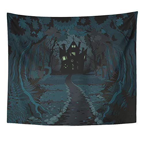 Emvency Tapestry Artwork Wall Hanging Forest of Spooky Haunted House on Night Halloween Horror Trail Scary Lane Evil 50x60 Inches Tapestries Mattress Tablecloth Curtain Home Decor Print ()