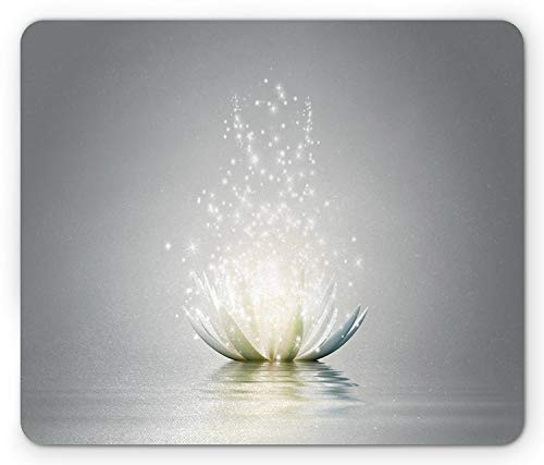 - Lotus Mouse Pad, Lotus Petals Surreal Boho Inspiration Relax Exotic Waterlily Picture, Standard Size Rectangle Non-Slip Rubber Mousepad, Light Grey Silver Coconut