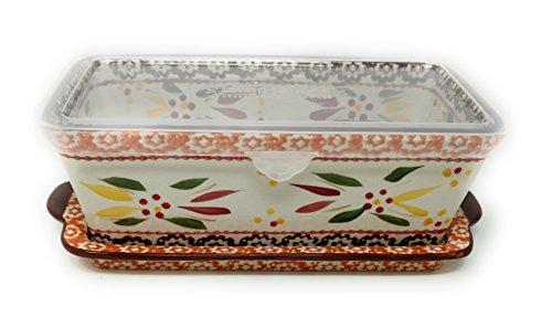 Temp-tations Loaf Pan w/ Plastic Cover & Lid-it(Tray) 1.0 Quart, 8 inch x 4.5 inch, Stoneware (Old World Fallfetti)