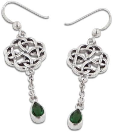 AquaGreen Crystal Dangle Earrings Celtic Heart Knot Earrings Mother of Pearl Shell Earrings