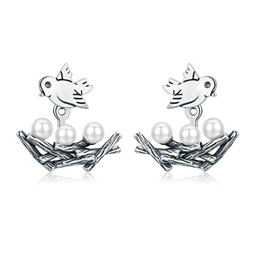 925 Sterling Silver Spring Collection Bird Swallow With Nest Stud Earrings For Women Jewelry - White Nest Swallow