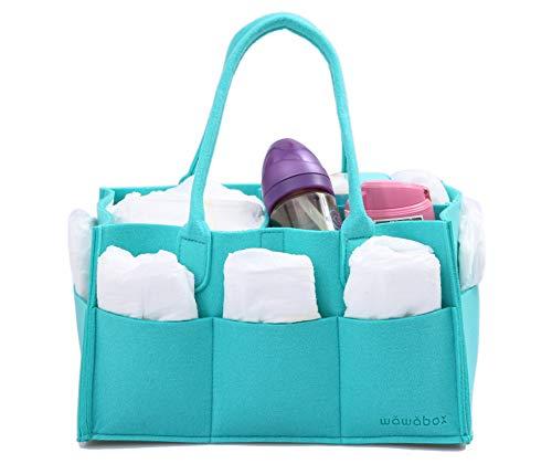 Diaper Caddy Organizer, Baby Gifts Diaper Bag, Storage Caddy for Newborn Kids, Felt Diaper Caddy Tote(Cyan)