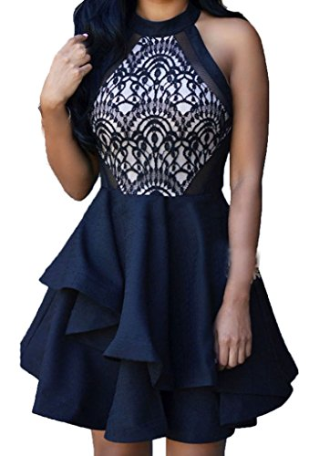 ZKESS Women's Sleeveless Lace Party Club Skater Dress Large Size Black