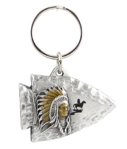 Pewter Key Ring - Indian Chief on Arrowhead