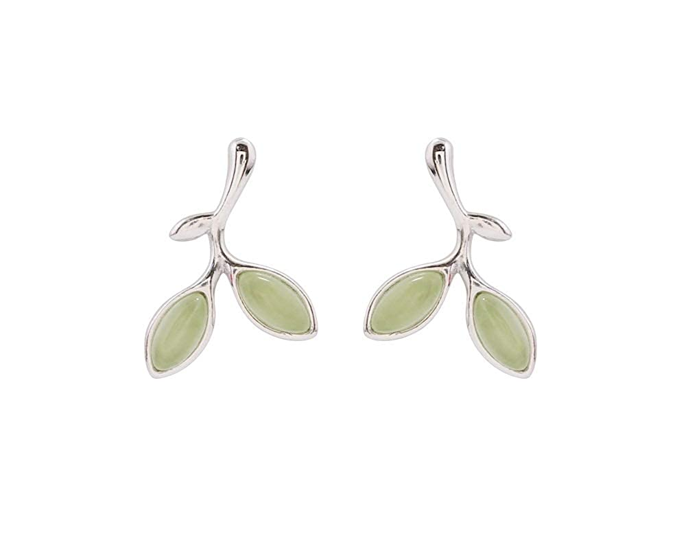 Cute Leaf Simple Designs Earring,Daily Jewelry Best Quality Polish Opal Green Olive Stud Earring