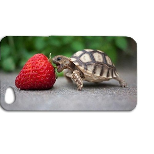 DECO FAIRY® Funny Turtle Eating a Strawberry Silicone Rubber Case Cover for Apple iPhone 5 / 5s