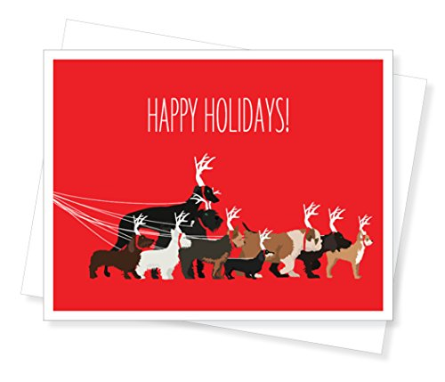 Dog Walk Holiday Christmas Cards, Set of 10 Greeting Cards