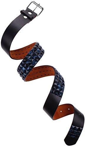 Genuine Bonded Leather Studded Belt Strap Waistband Fashion Mens Womens Buckle Black | Blue Paint Splatter Small