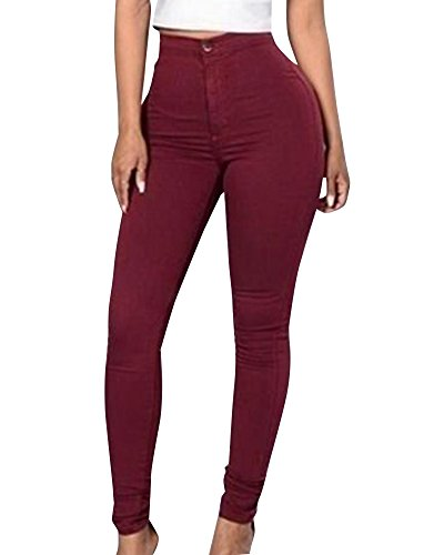Skinny Taille Pantalons Haute Pantalon Rouge Crayon Femmes Jeans Leggings Vin Denim Stretch Collants qIwxv6X0tF