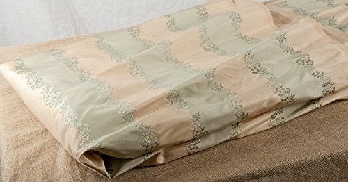 BU Ivory Blue striped with floral woven Pure Silk taffeta 54