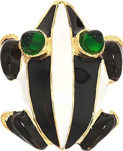 - Kenneth Jay Lane Women's Gold Base Black/White Enamel with Emerald Eyes Frog Pin Black/White One Size