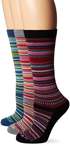 Wigwam Women's Miley Merino Wool Casual Crew Boot Sock 3-Pack, Black/Dark Denim/Grey, Medium