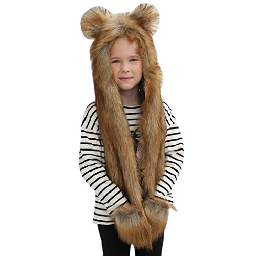 Vovotrade Adorable Winter Baby Toddler Kids Boys Girls Faux Fur Cute Animal Ear Beanie Warm Hat Cap (C)
