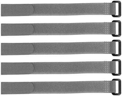uxcell フックとループのストラップ20mm x 400mmストラップ固定 再利用可能な固定ケーブルタイ(グレー)5個