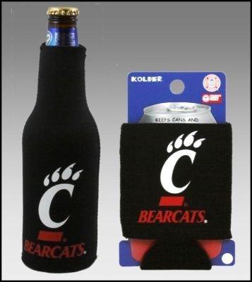 SET OF 2 CINCINNATI BEARCATS CAN & BOTTLE KOOZIE COOLER (Bearcats Bottle Cincinnati)