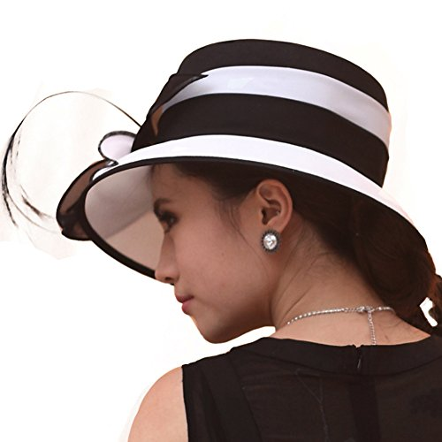 314ed13a292fbf June's Young Women Hat Formal Dress Hat Chiffon Fabric Feather Two Tone  Colors