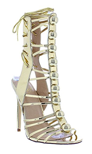 Gold Braid Heels Shoes (Liliana Strappy Back Lace up Button and Balls Accent Gladiator Open Back Mega(Gold 8))