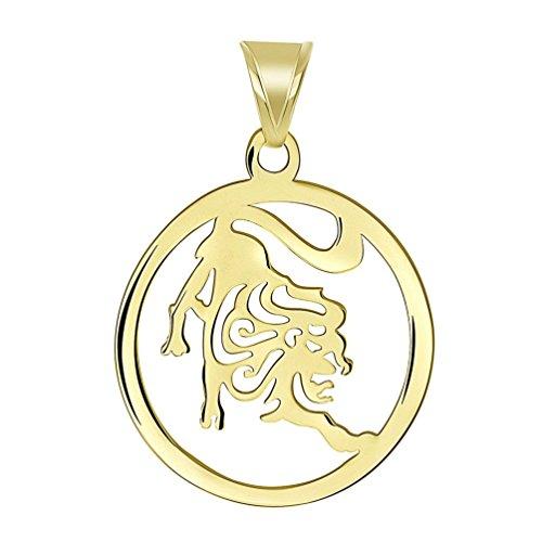 14k Yellow Gold Dainty Round Leo Zodiac Symbol Cut-Out Lion Pendant ()