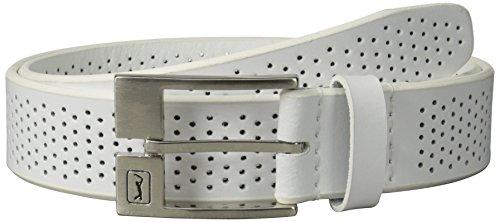 PGA TOUR Men's Perforated Leather Belt, White, 40